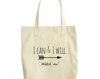Tote bag-I can & I will/Tote/Canvas Tote/Bag