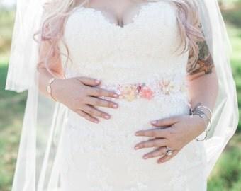 Custom Bridal Sash | Soft Pink Velvet