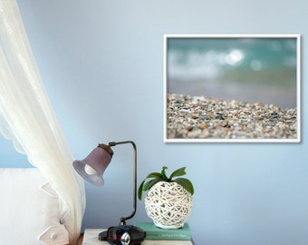 Bedroom photography Coastal photography Beach picture Pebble Photography Teal Grey decor Seashore photography Wall decor Photo print gift