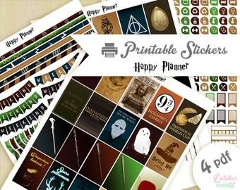 Harry Potter | Printable stickers | 4 pdf | Téléchargement instantané | Planner, Happy planner
