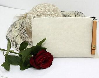 Linen women's clutch,Summer Bag, handbag, evening bag, handmade women's clutch, Natural Clutch Bag