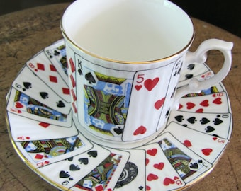 Elizabethan Cup for Coffee, Staffordshire Cut for Coffee, Cup and Saucer Playing Cards, Espresso Cup & Saucer
