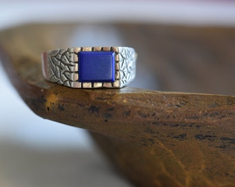 Mens Blue Stone Vintage 925 Silver Ring, US Size 13.5, Used