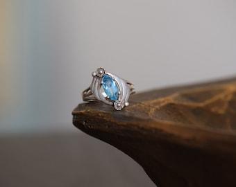 Diagonal Blue Gemstone Vintage Silver 925 Ring, US Size 6.75, Used