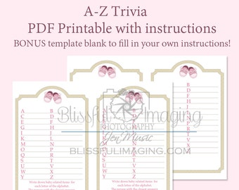 Baby Shower Trivia Game, A-Z, Girl