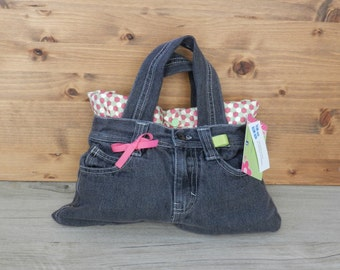 Handbag, handbag, jeans, purse recycled, recycled jeans, cell, pink, green
