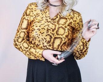 Vintage 1970's Shiny Snakeskin tunic blouse