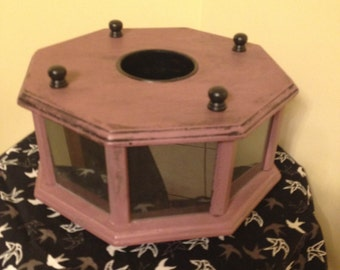 Lavender Rotating Picture Display Centerpiece Handpainted Shabby Chic