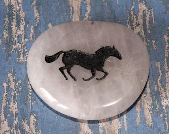 Quartz horse stone,stone horse cabochon, wire wrap , stone horse pendant,horse worry stone, quartz,equine, white horse stone, horse jewelry