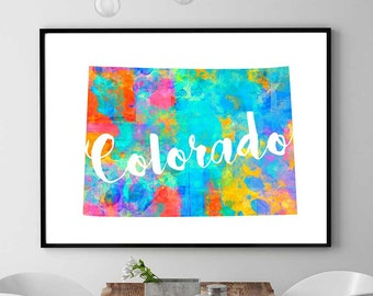 Colorado Map Print Instant Download Map Colorado Printable Colorado Watercolor Print Home