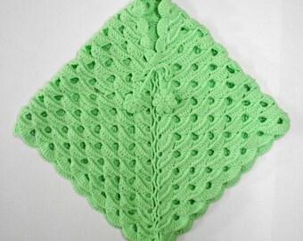 Lime Green Crochet Kids Poncho
