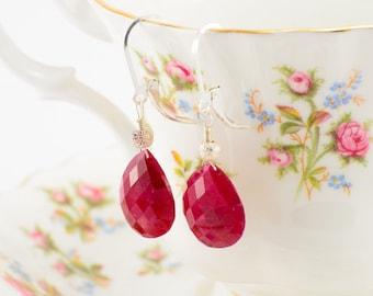 Ruby teardrop and sterling silver drop earring