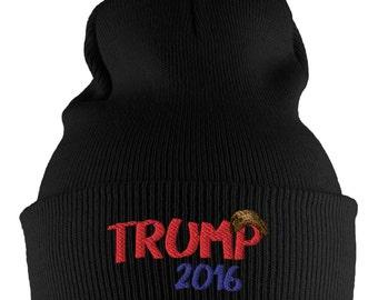 Election 2016 Trump Toupee Black Knit Beanie