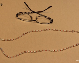 Beaded glasses chain - orange & white