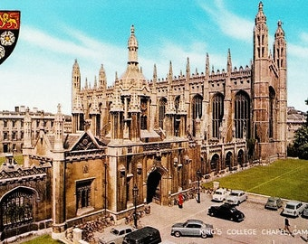 Vintage British Postcard, University of Cambridge, King's College Chapel, England, 70s Postcard, UK Postcard, Unposted, Cambridge