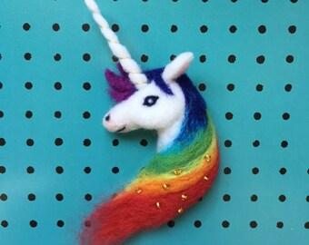 Rainbow Unicorn Needle-felt Wool Brooch