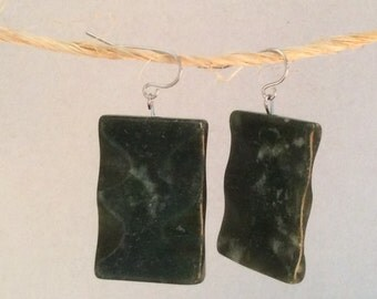 Deep green marble earrings