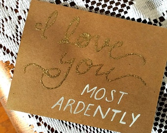 Mr. Darcy quote / hand-lettered card / gold glitter