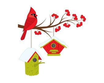 Christmas Cardinal on Branch Clipart - Digital Vector Cardinal, Bird, Berries, Birdhouse, Cardinal Clip Art for Personal and Commercial Use