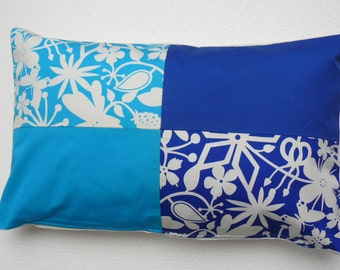 Light and dark blue Handmade Decorative Pillow Cover/Case, Flowery abstract design pillow cover, Spring/Summer - Unique - COLLECTION EDEN