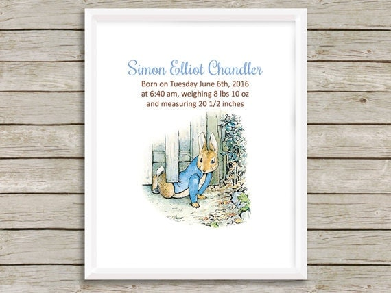 Peter Rabbit Birth Announcement Nursery Art By Simplypstationery