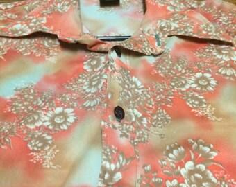 Crazy mens sherbert psychedelic floral 70s shirt MEDIUM