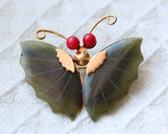 Vintage Jade and Coral Butterfly Brooch / Pin