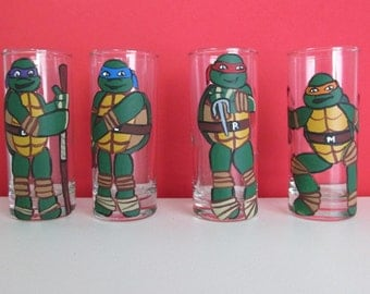 "Hand-Painted Teenage Mutant Ninja Turtle ""Double-shot"" Shot Glasses, set of 4"