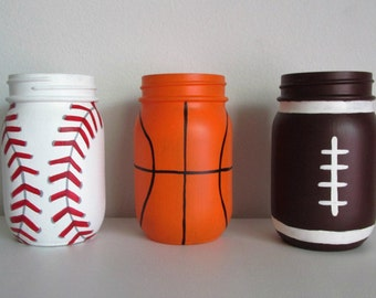 Hand-Painted Sports Themed Mason Jars - Baseball, Basketball, Football, set of 3