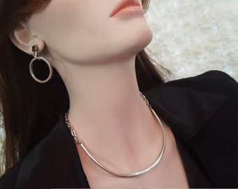 Vintage Costume Jewelry - Choker Necklace x 2 , Earrings x2s - Astrid Silver Ball Choker - Simplicity Choker.