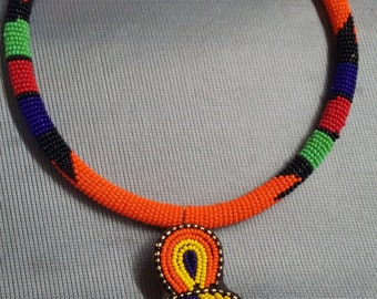 African Necklace, Hand-made jewelry, Tribal, Maasai Beadwork