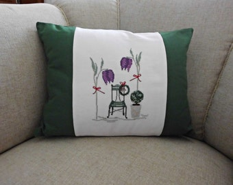"""Cross stitch cushion """"In The Garden"""", white Lugana evenweave fabric by Zweigart, green fabric Half-Panama, 15.7"""" x 11.8"""", with filling"""