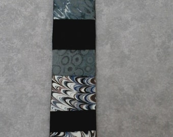 abstract bookmark, patchwork bookmark, fabric bookmark, monochrome bookmark, patchwork page marker