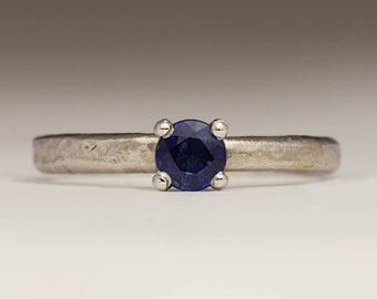 Rustic Platinum and Sapphire Ring, Unique Engagement Ring, Deep Blue Sapphire Solitaire, Textured 2mm Platinum Ring, Contemporary Jewelry