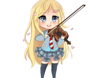 Kaori Your lie in April Kawaii STICKER gloss matte.  Good for laptops, computers, notebooks and more!
