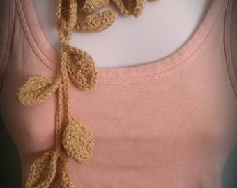 handmade crochet cappucino lariat necklace with detachable flower brooch