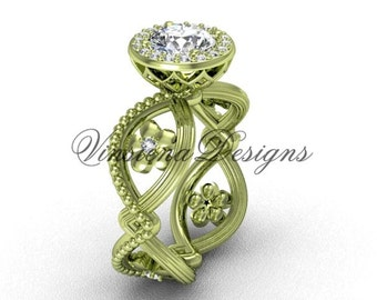 14kt yellow gold flower engagement ring VF301014