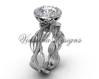 14kt white gold diamond leaf and vine engagement ring VF301021