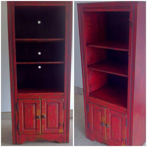 red distressed kitchen cabinets rustic distressed cabinet bookcase by thatpaintedpeace 4561
