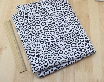 Black White Leopard Cotton Fabric 50cm x 150cm JY061