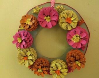 Colorful Springtime pinecone flower wreath