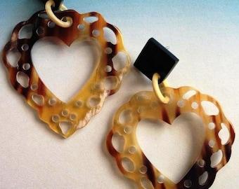 Horn lace heart earrings