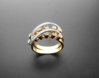 VA004,Diamond Ring, 14k Yellow Gold, 14k White Gold