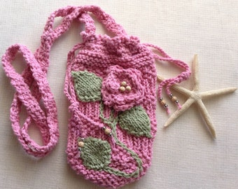 """Hand knit Phone Pouch in """"Beach Rose"""""""