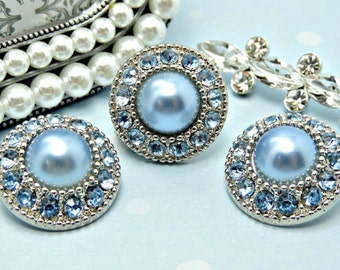 BABY BLUE Pearl Buttons W/ Baby Blue Rhinestones Silver Acrylic Buttons Diy Wedding Garment Coat Fashion 25mm 3367 8P 11R