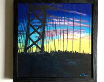 Giclee (print): Bay Bridge Sunset