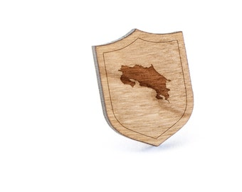 Costa Rica Lapel Pin, Wooden Pin, Wooden Lapel, Gift For Him or Her, Wedding Gifts, Groomsman Gifts, and Personalized