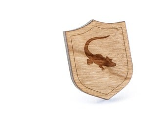 Alligator Lapel Pin, Wooden Pin, Wooden Lapel, Gift For Him or Her, Wedding Gifts, Groomsman Gifts, and Personalized