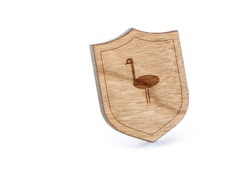 Emu Lapel Pin, Wooden Pin, Wooden Lapel, Gift For Him or Her, Wedding Gifts, Groomsman Gifts, and Personalized