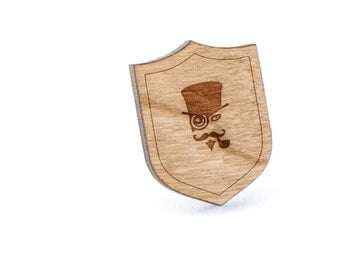 Steampunk Lapel Pin, Wooden Pin, Wooden Lapel, Gift For Him or Her, Wedding Gifts, Groomsman Gifts, and Personalized